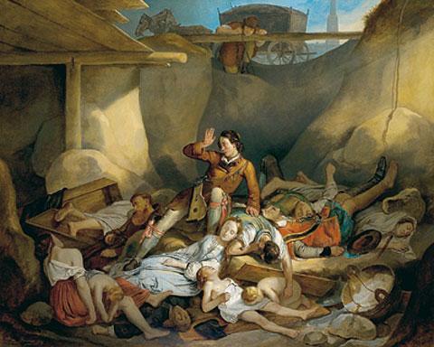 """Gemälde vom """"Lieben Augustin"""" in einer Pestgrube"""