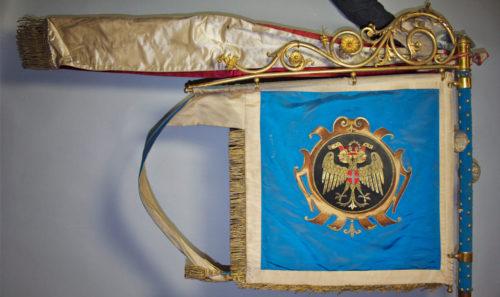Rückseite der Zunftfahne der Wiener Gold- und Metallschläger